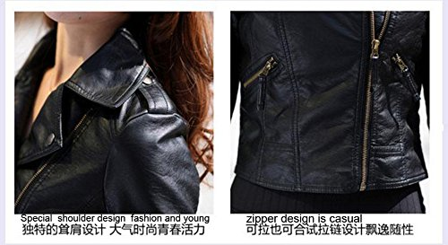 Gaorui Women's Vintage Slim Biker Motorcycle PU Soft Leather Zipper Jacket Coat 5