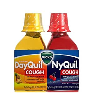 Vicks Dayquil Nyquil Cough Relief Liquid Combination Package - 10 Oz, 2 in one Pack