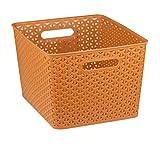 Home Basics Plastic Basket (Orange, X-Large)