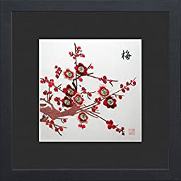 King Silk Art 100% Handmade Embroidery Japanese Winter Cherry Blossoms Chinese Print Framed Flower Floral Painting Gift Oriental Asian Wall Art D¨¦cor Artwork Hanging Picture Gallery 36065BFB1