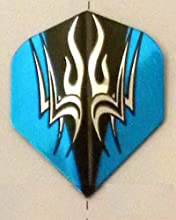 25 Sets 3577 AmeriThon Blue On Black Tribal Dart Flights