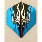 One Set 3577 Blue Black Tribal On Silver Dart Flights - Standard Shape