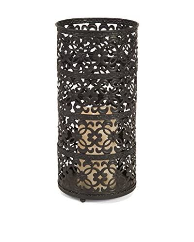 Tall Filigree Lantern with LED Light, Espresso