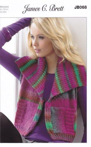 Monsoon Aran Knitting Pattern JB068 Ladies Collared