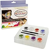 Kustom Body Art Rainbow Face Paint Set 8 Color Boxed Set, 3 Ml Each, 2 Makeup Brushes, a Full 8 Color Rainbow Pallet, Perfect for Face Painting At Any Children's Party or Halloween.