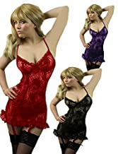 Yummy Bee Lingerie Babydoll Set Suspenders + Lace Stockings Plus Size 8 - 24