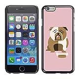 Stuss Case / Hard Protective Case Cover - Bulldog British English Cartoon Pink - Apple iPhone 6 Plus 5.5