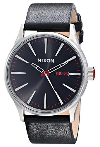Nixon Homme Bracelet Cuir Noir Boitier Acier Inoxydable Quartz Analogique Montre 00