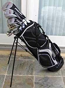 Mens Golf Set Complete Titanium Clubs & Bag Driver, Fairway Wood, Hybrid, Irons,... by PreciseGolfCo.