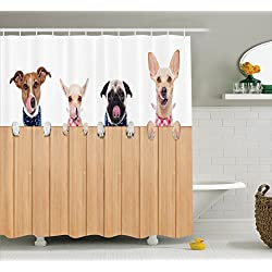 Dog Lover Decor Collection,Fabric Bathroom Shower Curtain, Row Of Hungry  Dogs Tongue Sticking