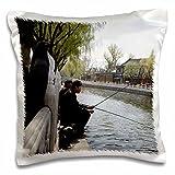 Albom Design Travel - Two Men Fishing on River in Beijing, China Photo by Rhonda Albom - 16x16 inch Pillow Case