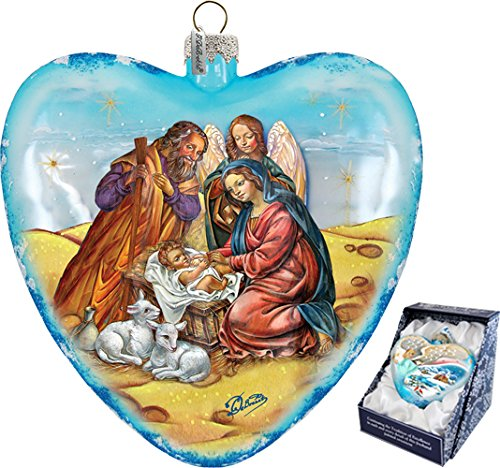 G. Debrekht LE Adorned Family Heart Xlg Nativity Glass Heart Christmas Decoration – Hand Painted Glass, Ltd Ed Gift