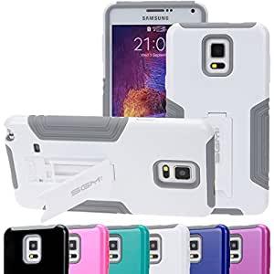 Note 4 Case, SGM (TM) Hybrid Dual Layer Protective Armor Defender Case With Kickstand For Samsung Galaxy Note 4 (White)