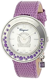 Salvatore Ferragamo Women's FF5040013 Gancino Sparkling Polished Stainless Steel White Guilloche Dial Diamond Watch from Salvatore Ferragamo