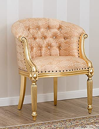 Poltrona Isabelle stile Barocco Francese foglia oro tessuto damascaro oro avorio bottoni Swarovski