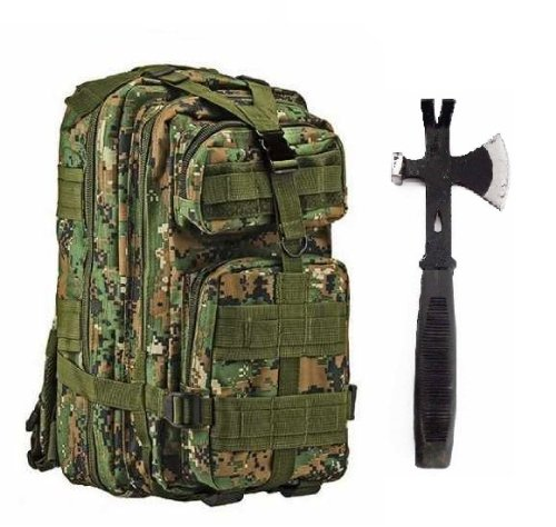 """Ultimate Arms Gear Surviaval Combo: 13"""" Tactical 3 In 1 Mulit-Use Emergency Supply Tool Chop Hatchet Axe + Flat Head Hammer + Wrecking Ripping Pry Bar With Rubberized Grip Handle + Marpat Woodland Digital Camouflage Compact Level 3 Full Featured Assault P"""