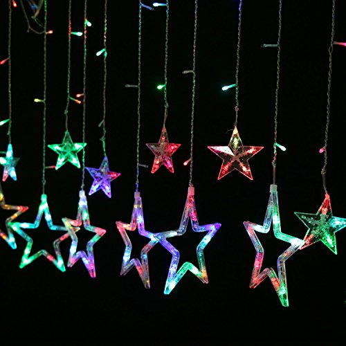 Outdoor Wall Hanging Christmas Lights : Homdox Lighting Show Home Outdoor Holiday Christmas Light LED Hanging Star Curtain String Lights
