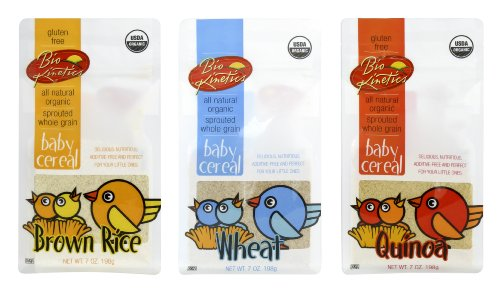 Organic, Sprouted Baby Cereal Assortment: Quinoa, Rice, Wheat - 7 Oz. (198 g) Each - 3 Pack Bundle