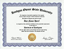 Handgun Owner Handguns Degree- Custom Gag Diploma Doctorate Certificate (Funny Customized Joke Gift - Novelty Item)