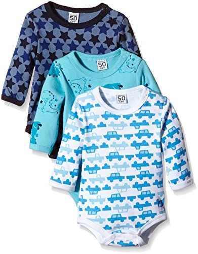 Care Baby - Jungen Langarm-Body im 3er Pack, All over print, Gr. 98, Blau (Dark Navy 778)