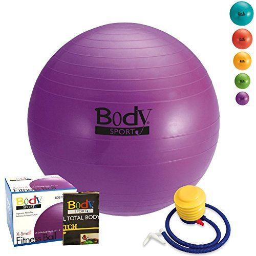 Exercise Ball With Pump (Purple 45cm) - by BodySport - Strengthen Your Core for Great Abs - Tone - Yoga - Fitness - Stability - Pilates - Free Exercise Guide Included