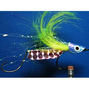 NEW FLIES Holographic & Glow in the Dark Tandem Hook Bass & Pike Floating Head Fly #54