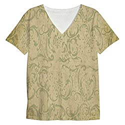 Snoogg Patterns Textures Mens Casual V Neck All Over Printed T Shirts Tees