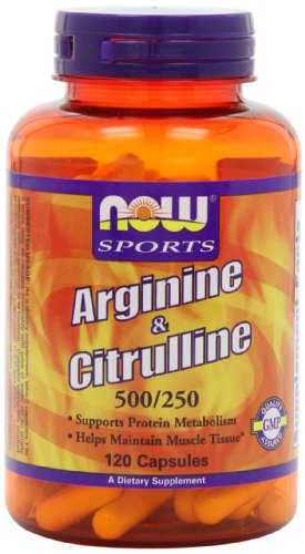 Now Foods Arginine 500mg and Citrulline 250mg, Capsules, 120-Count
