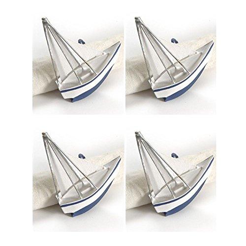 Nautical Sailboat Napkin Rings - Set of 4