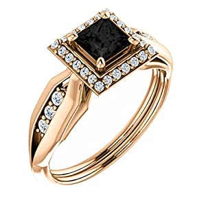 10K Rose Gold Princess Cut Black Diamond Halo-Style Engagement Ring - 1.21 Ct.