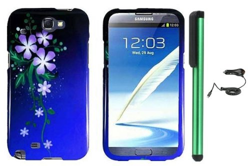 =>>  Meteor Shower Style Purple Green Flower Design Protector Hard Cover Case for Samsung Galaxy Note II N7100 (AT&T, Verizon, T-Mobile, Sprint, U.S. Cellular) Android Smart Phone + Luxmo Brand Car Charger + Combination 1 of New Metal Stylus Touch Screen Pen (4