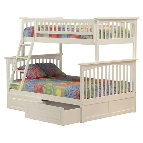Columbia Twin/Full Bunk Bed with Under-Bed Drawers - White