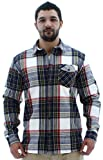 WeSC Abdon Men's Flannel Shirt Woven Button Down White Size S