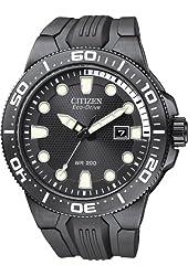 Citizen #BN0095-08E Men's Eco Drive Suba Fin All Black PU Strap 200M Dive Watch
