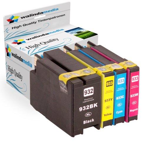 4x Druckerpatronen Ersatz für Hp 932 XL + 933 XL Original Walindamedia Tinte , 1x hp 932 black, 1.000 Seiten , 1x Hp 933 Cyan, 825 Seiten + 1x Hp 933 Magenta, 825 Seiten + 1x Hp 933 Gelb, 825 Seiten Ersatz für Hp CN053AE-56AE