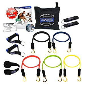 Bodylastics 12 pcs Resistance Bands Set *MAX TENSION with 5 Stackable anti-snap exercise tubes, Heavy Duty components, carrying case, DVD and FREE 3 month access to over 2000 full length resistance bands workout videos, from Pilates to MMA by Bodylastics