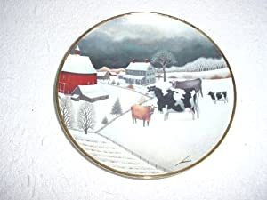 Cows in Winter Plate by Franklin Mint