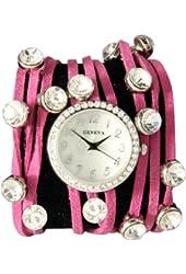 Spaghetti Strand Designer Inspired Geneva Wrap Watch-Pink!