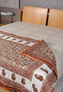 Handmade Double Jaipuri Reversible Cotton Quilt Hand Block Print Work