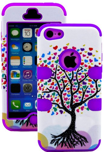 Mylife (Tm) Lavender Purple + Colorful Tree Of Hearts 3 Layer (Hybrid Flex Gel) Grip Case For New Apple Iphone 5C Touch Phone (External 2 Piece Full Body Defender Armor Rubberized Shell + Internal Gel Fit Silicone Flex Protector + Lifetime Waranty + Seale