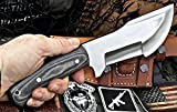 CFK Cutlery Company IPAK USA Custom Handmade D2 Tool Steel Camo Micarta LARGE Tracker Hunting Skinning Bushcraft Knife with Horizontal Leather Sheath & Fire Starter Rod Set CFK59