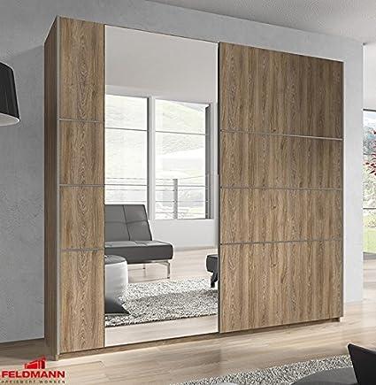 Schwebeturenschrank Kleiderschrank mit Spiegel 54560 madeira 180cm