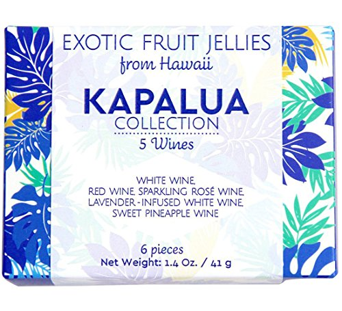 Assorted Fruit Jellies 5 Flavors from Maui Fruit Jewels Artisan Candy | Maui White Red Wine Red Pineapple Wine Sparkling Rose Chablis Wine Infused w/ Lavender | A Jellied Gourmet Gummy (Kapalua, 6 pc) (Wine Flavored Candy compare prices)