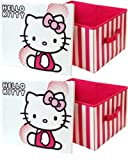 2 x Hello Kitty Toy Storage Box Collapsible Toy Box for Girls Bedroom Nursery or Toyroom