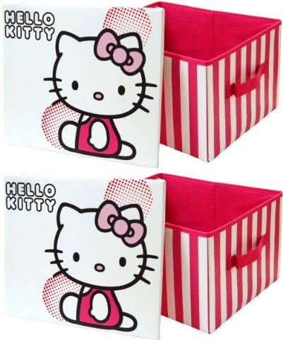 2 x Hello Kitty-Contenitore portagiochi da bambina, pieghevole, per camera da letto, cameretta o Toyroom