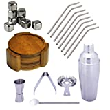 Healthpro Bar 5-Piece Stainless Steel Martini Shaker Set Deluxe Package, Includes 8 Titanium Super Strong Lightweight Drinking Straws, 5-Piece Organic Moso Bamboo Heavy Duty Round Coaster Set and 8 Tuscani Stainless Steel Reusable Ice Cubes with Tongs
