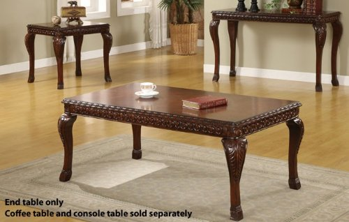 Cheap End Table with Leafy Design Legs in Traditional Espresso Finish (VF_F6231)