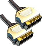 5 Metre Metal Plug, Gold Plated, OFC Scart Cable 5M Lead