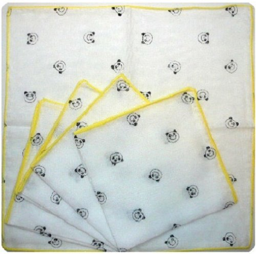 Isamu shokai Tiny panda-bear print Gauze handkerchief/ wipes 5 sheets set Made in Japan