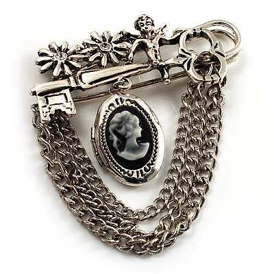 Vintage Cameo Locket, Angel, Key, Flower And Chain Pin Brooch (Burn Silver Finish)